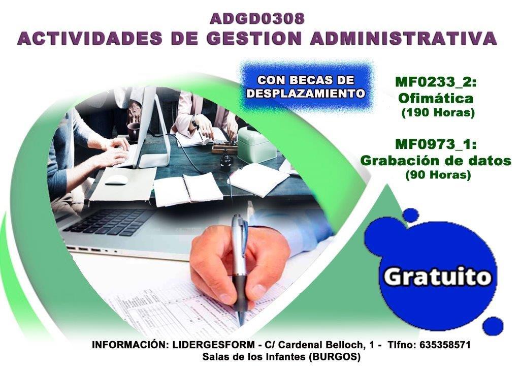 Cartel del Curso de  gestion administrativa en Salas.